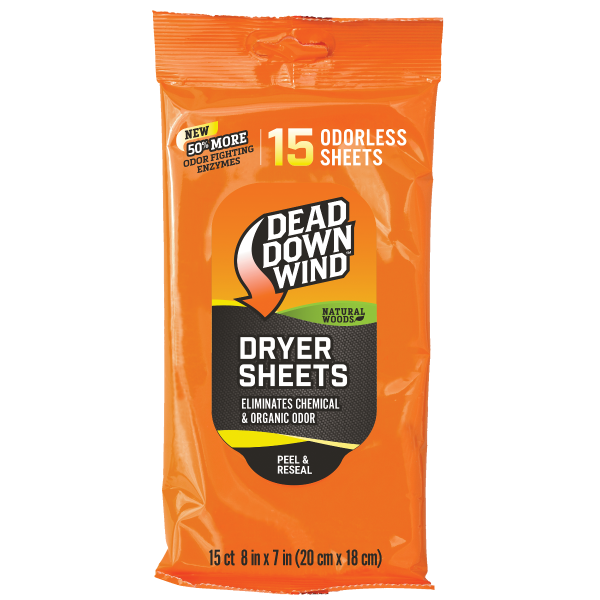 Dead Down Wind Dryer Sheets | Natural Woods | 15 Count | 11913